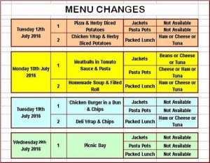 Menu Changes!!