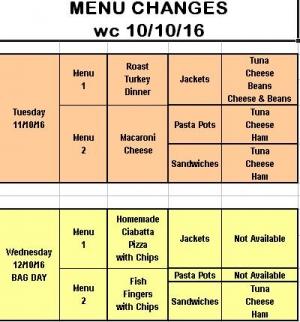 Menu Changes wc 10/10/16