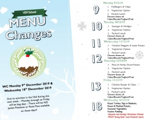 Xmas Menu Changes WC 09/12/19